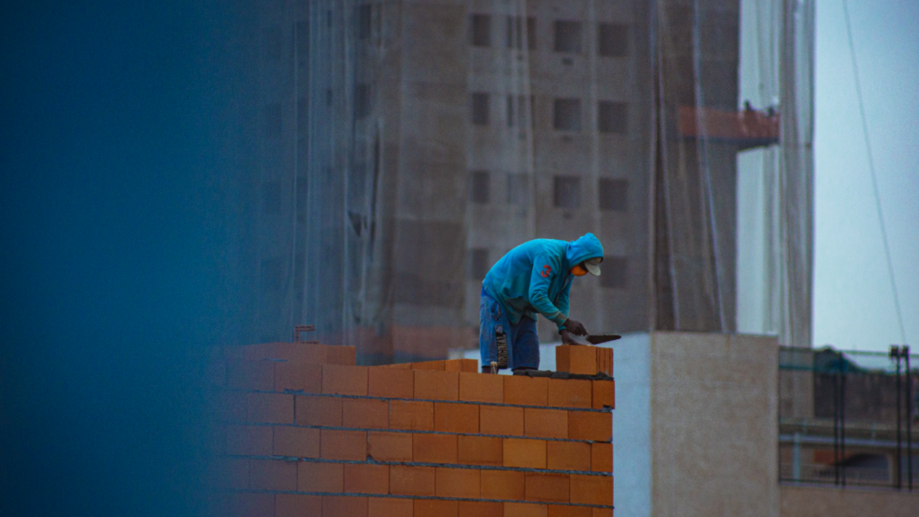 Construction worker building a structure