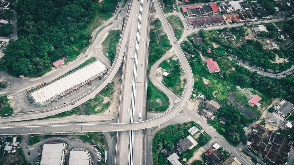 Clover leaf interchange top view