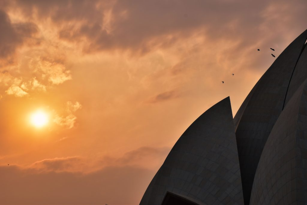 Lotus temple at evening